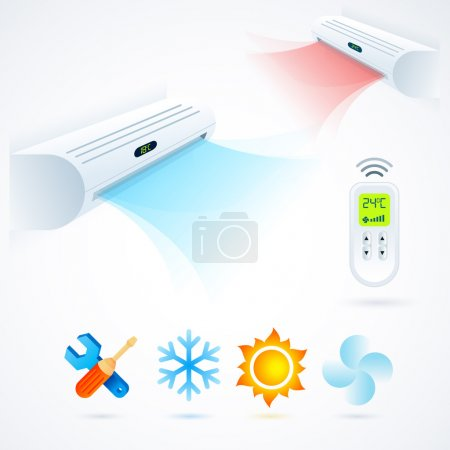 Illustration for Air conditioners cool fun climate element icons set white blue - Royalty Free Image
