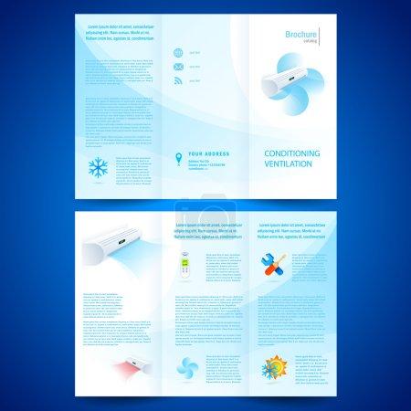 Illustration for Brochure folder leaflet air conditioner - conditioning ventilation system - Royalty Free Image