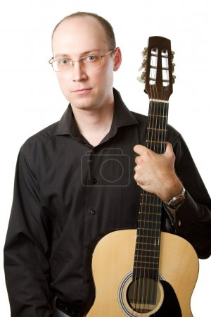 Photo for Musician guitar musical instrument Guitarist playing acoustic six-string guitar isolated on white. Details of guitar playing close-up, isolated on white background. - Royalty Free Image