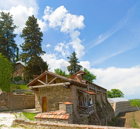 Panorama of historical medieval Shuamta monastery in Alazani Valley, Repub