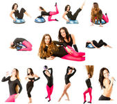 Collection of two fitness women make stretch on yoga and pilates pose on i