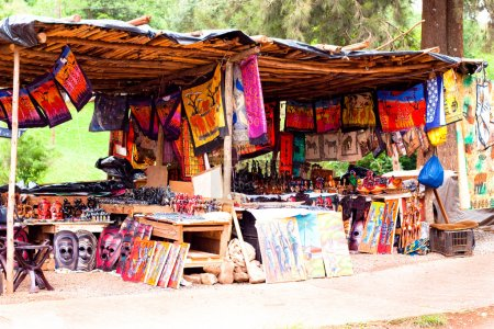 African traditional market with handmade souvenirs...