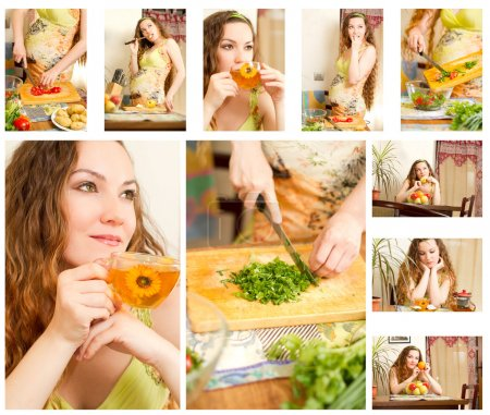 Photo for Collage of pregnant woman on kitchen with fresh vegetables.The concept of food and healthy lifestyle - Royalty Free Image