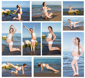Collage of pregnant woman in sports bra doing exercise in relaxation on yoga pose on sea