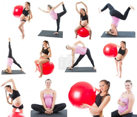 Collage of regnant fitness two women make stretch on yoga and pilates pose on white background The concept of Sport and Health