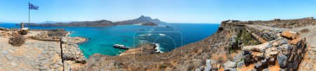 Panorama of Gramvousa , westernmost peninsula of Crete in Greece. Remains of Venetian fort on the top of small isle by Cretan insurgents during Greek War of Independence. Magical turquoise waters, lag