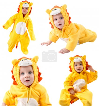 Collage of children,dressed in lion carnival suit, isolated on white background. Baby zodiac - sign Leo. The concept of childhood and holiday