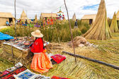 Floating Islands on Lake Titicaca Puno, Peru, South America.