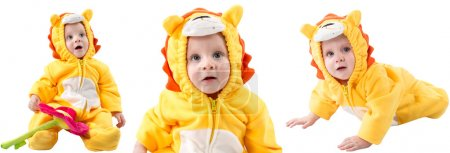 Child boy,dressed in lion carnival suit