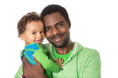 Happy black father and baby boy