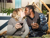 Kissing happy couple