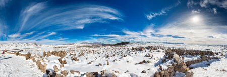 Photo for Panorama of Andes, Road Cusco- Puno, Peru,South America 4910 m above The longest continental mountain range in the world, many active volcanoes Sacred Valley of the Incas Spectacular nature of snow mountains and blue sky - Royalty Free Image