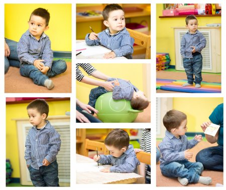Photo for Little child boy playing in kindergarten in Montessori preschool Class. - Royalty Free Image