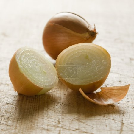 Photo for Three yellow onions isolated on white background - Royalty Free Image