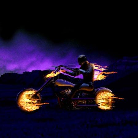 Photo pour Homme sur une moto brûlant - image libre de droit
