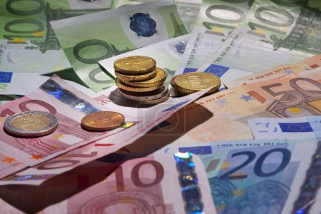 Background of the euro banknotes and coins