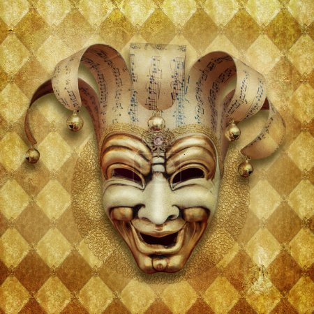Vintage grunge Background with venetian mask