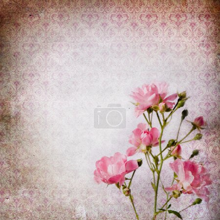 Vintage grunge background with roses