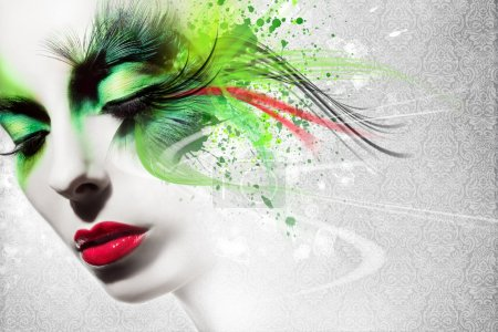 Photo pour Belle femme, Oeuvre d'art avec de l'encre dans le style grunge - image libre de droit