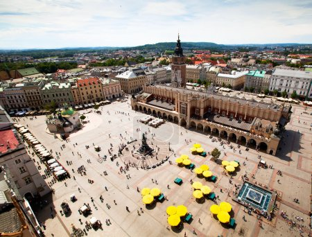 View of the old town of Cracow, old Sukiennice, Poland.