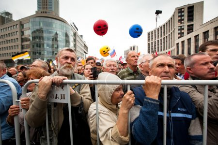 Photo for Opposition activists and supporters take part in an anti-Putin protest on September 15, 2012 in Moscow. - Royalty Free Image