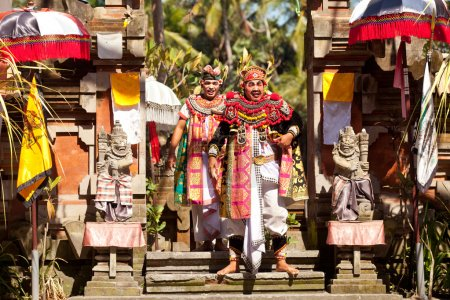 BALI, INDONESIA APRIL 9: Balinese actors during a classic national Balinese dance formal wear on April 9, 2012 on Bali, Indonesia. formal wear is very popular cultural show on ball