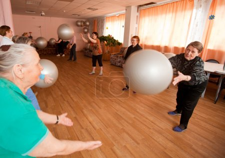 PODPOROZHYE, RUSSIA - MAY 4: Day of Health in Center of social services for pensioners and disabled Otrada