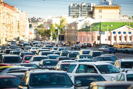 Cars stands in traffic jam in Moscow.