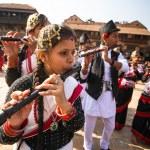 BHAKTAPUR, NEPAL - DEC 20: Unidentified musicians ...