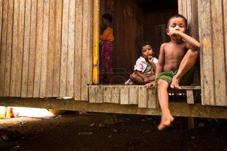 Unidentified children Orang Asli in his village in Berdut, Malaysia.