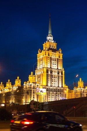 Hotel Ukraine at night