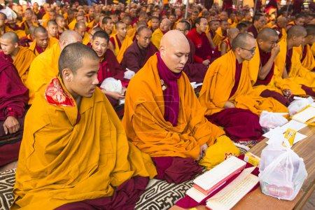 Unidentified Buddhist pilgrims near stupa Boudhanath