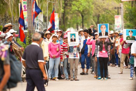 Participants of protest on the Cambodia -Thailand border