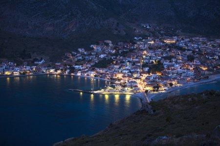 Marina of Monemvasia in night time