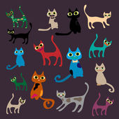 Vector set of cute cartoon cats