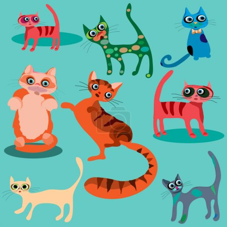 Vector set of cute cartoon cats.