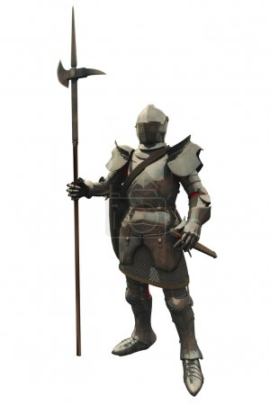 Photo for Fifteenth Century late Medieval Knight in Northern Italian Milanese Armour, 3d digitally rendered illustration - Royalty Free Image