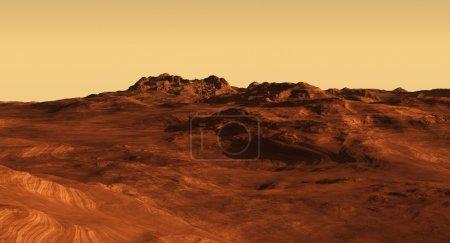 Photo pour Illustration imaginaire paysage martien, illustration numérique rendue 3d - image libre de droit