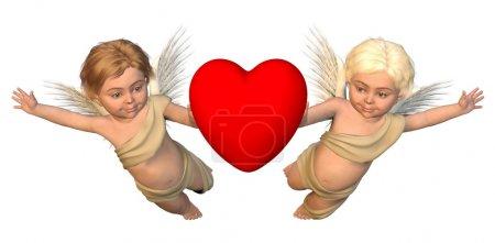 Photo pour Deux chérubins ailés portant un coeur rouge pour la Saint Valentin, 3d numériquement rendu illustration - image libre de droit