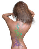 Woman with Chinese Dragon Tattoo