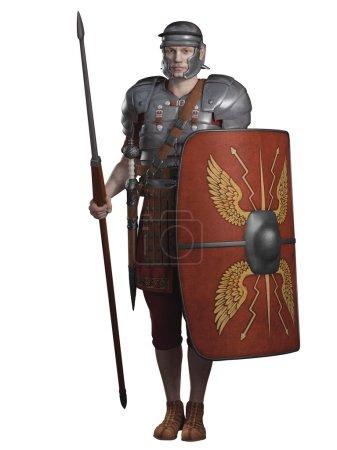 Photo pour Légionnaire soldat de l'empire romain portant lorica segmentata, 3d numériquement rendu illustration - image libre de droit