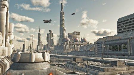 Foto de Vista a la calle ciudad futurista de ciencia ficción, Ilustración digital renderizado 3d - Imagen libre de derechos