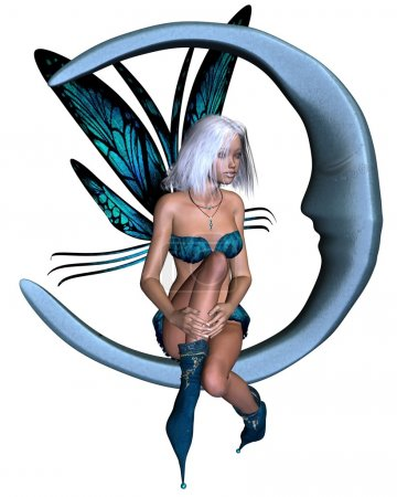 Photo for Fairy dressed in blue with butterfly wings sitting on a silver moon, 3d digitally rendered illustration - Royalty Free Image