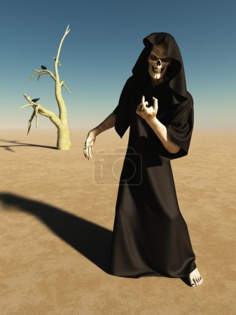 Beckoning figure of death in an empty desert lands...