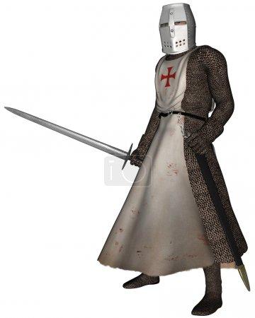 Photo pour Chevalier du Temple médiéval précoce en chaine de courrier et tabard de l'ordre des Chevaliers du Temple du Roi Salomon, illustration numérisée en 3D - image libre de droit
