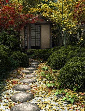 Photo pour Maison de thé traditionnelle japonaise et jardin avec tremplins, 3d numériquement rendu illustration - image libre de droit