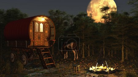 Traditional Romany Gypsy wagon and camp with horse...