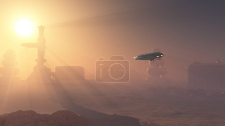 Space shuttle landing in a duststorm at a Martian ...