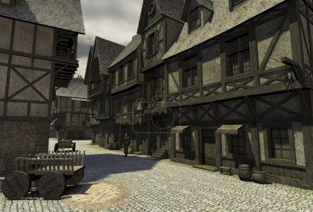 Foto de Calle escena ambientada en una ciudad europea durante la edad media o Medievo, 3d digitalmente prestados ilustración - Imagen libre de derechos