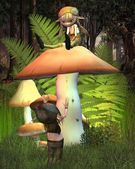 Two little goblins playing on a mushroom in a sunny woodland glade
